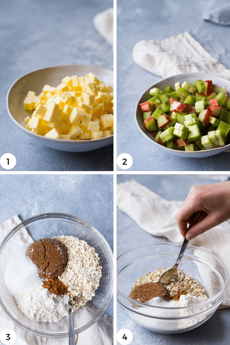 Step by step photos for butter, rhubarb and dried mixture for rhubarb crisp.