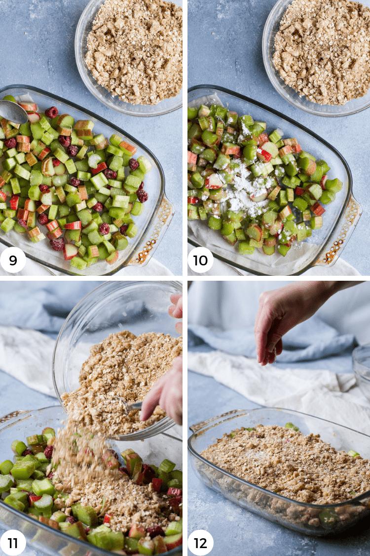 Step by step photos for rhubarb crisp.