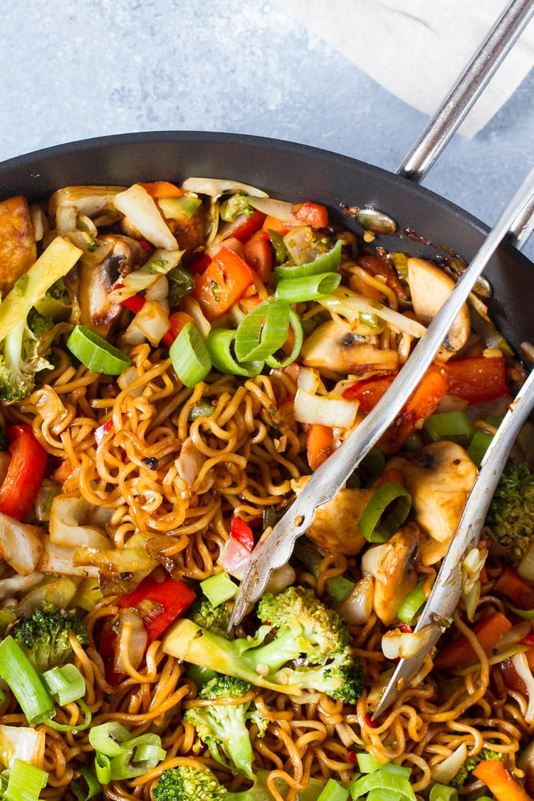Closeup of skillet with lo mein