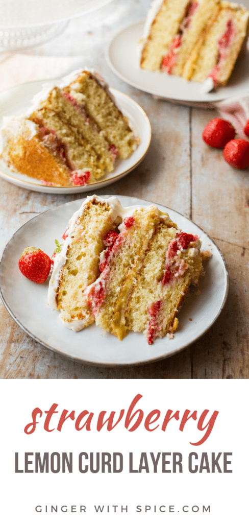 Three slices of strawberry cake, focus on one. Pinterest pin.