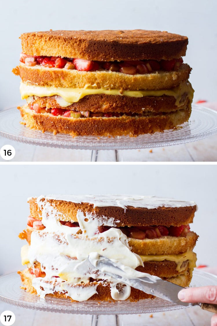 Step by step photos to frost strawberry cake.
