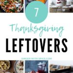 Collage of Thanksgiving leftovers recipes. Pinterest pin.
