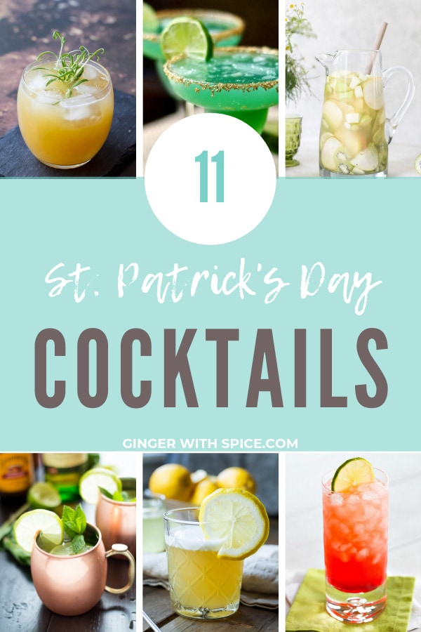 Collage of 6 whiskey drinks for a St Patrick's Day round-up.