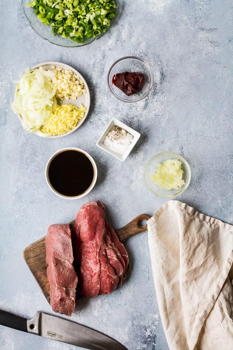 Ingredients for beef bulgogi