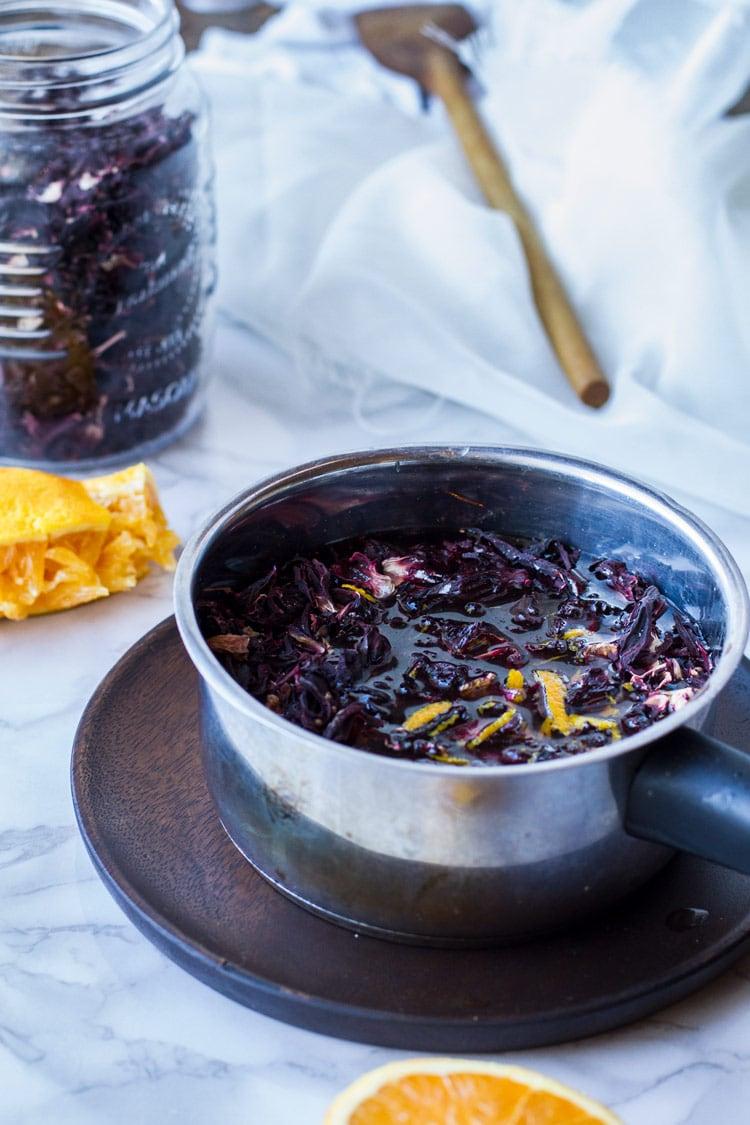How to make hibiscus tea.