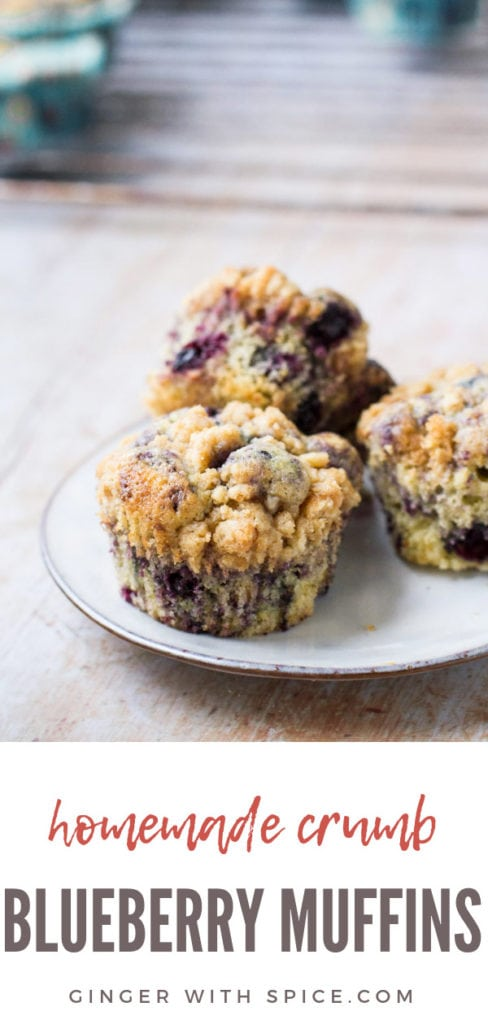 Three homemade blueberry muffins on a white plate. Pinterest pin.