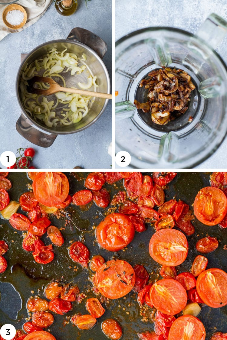 How to make caramelized onions and roasted tomatoes steps.