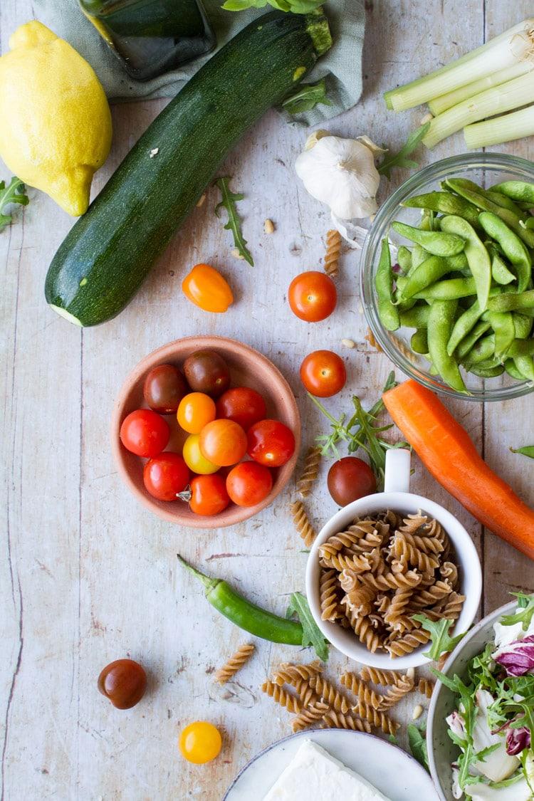 Ingredients to make healthy pasta salad.