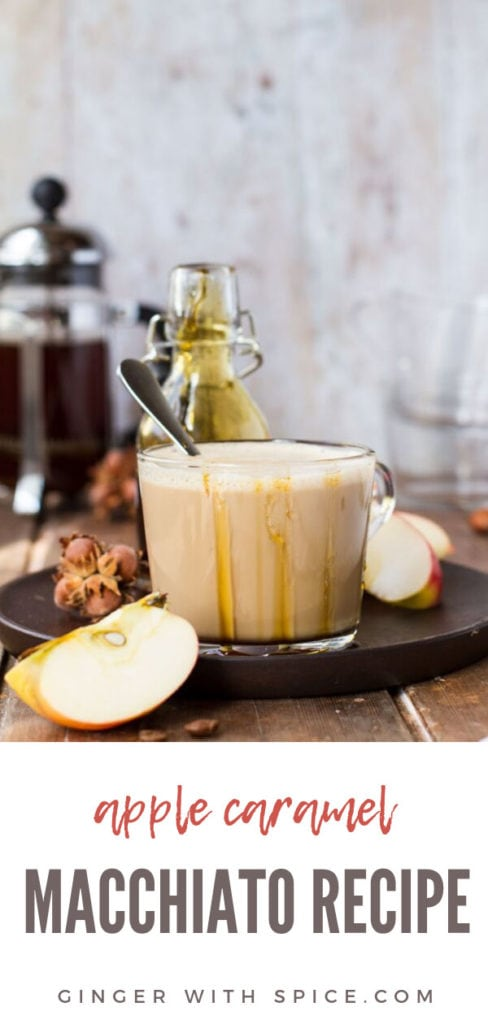 Clear cup with apple caramel macchiato, salted caramel around the edges. Pinterest pin.