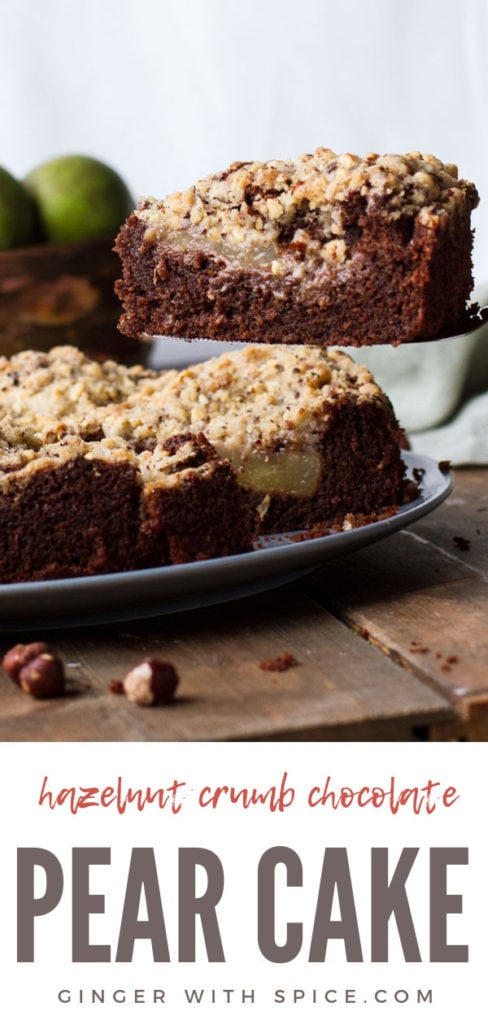 Focus on one slice of chocolate pear cake, with the whole cake in the background. Pinterest pin.