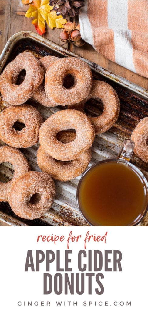 Apple Cider Donuts and a cup of apple cider on a metal pan. Pinterest pin.