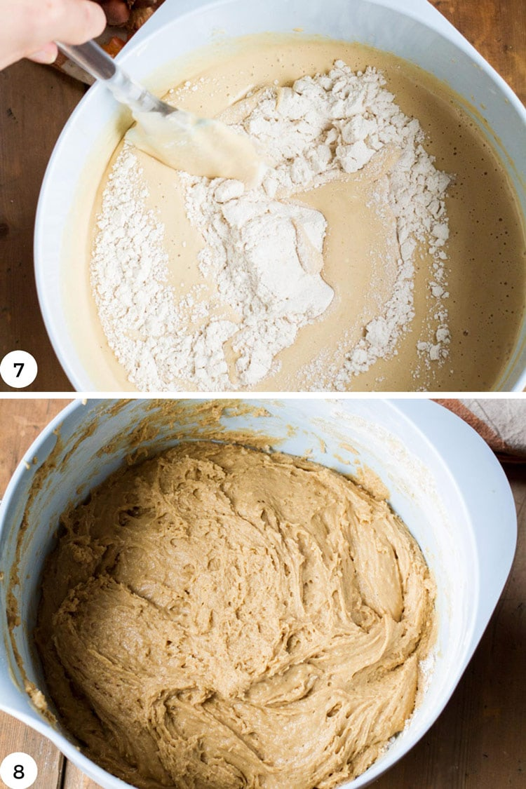 Fold in flour to batter of apple cider donuts.