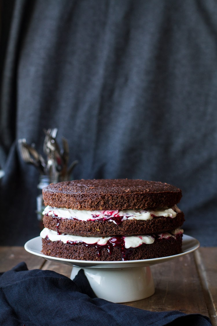 Black forest cake with whipped cream and cherry filling.