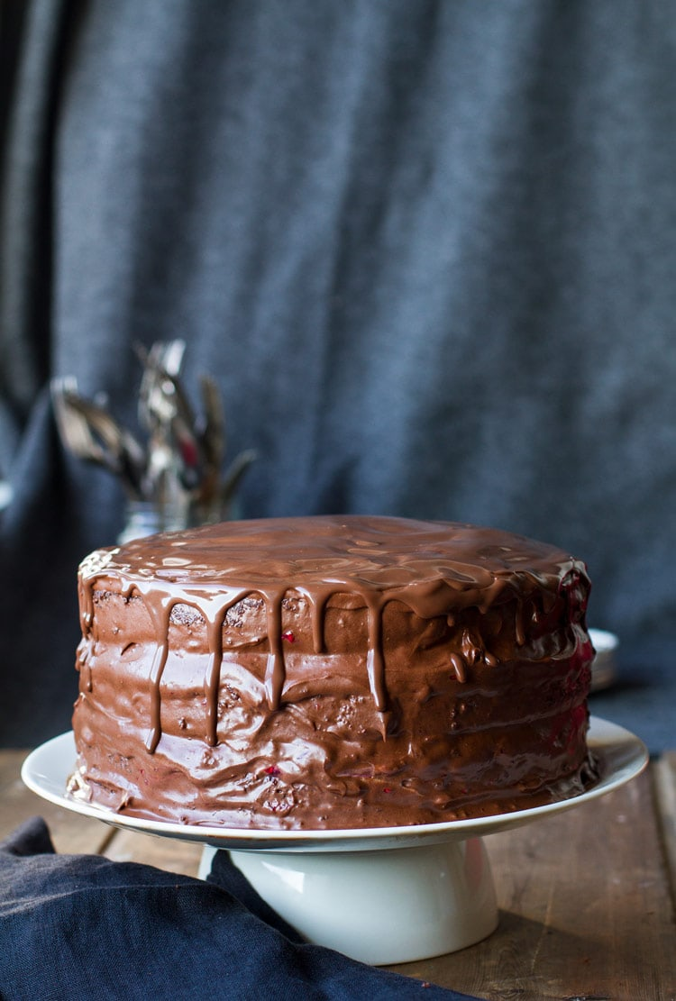 Cherry chocolate cake coated in a chocolate buttercream.