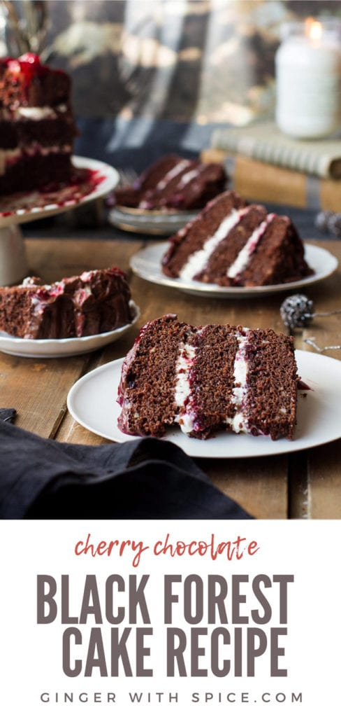 Four slices of cherry chocolate cake with layers of whipped cream and cherry filling. Pinterest pin.