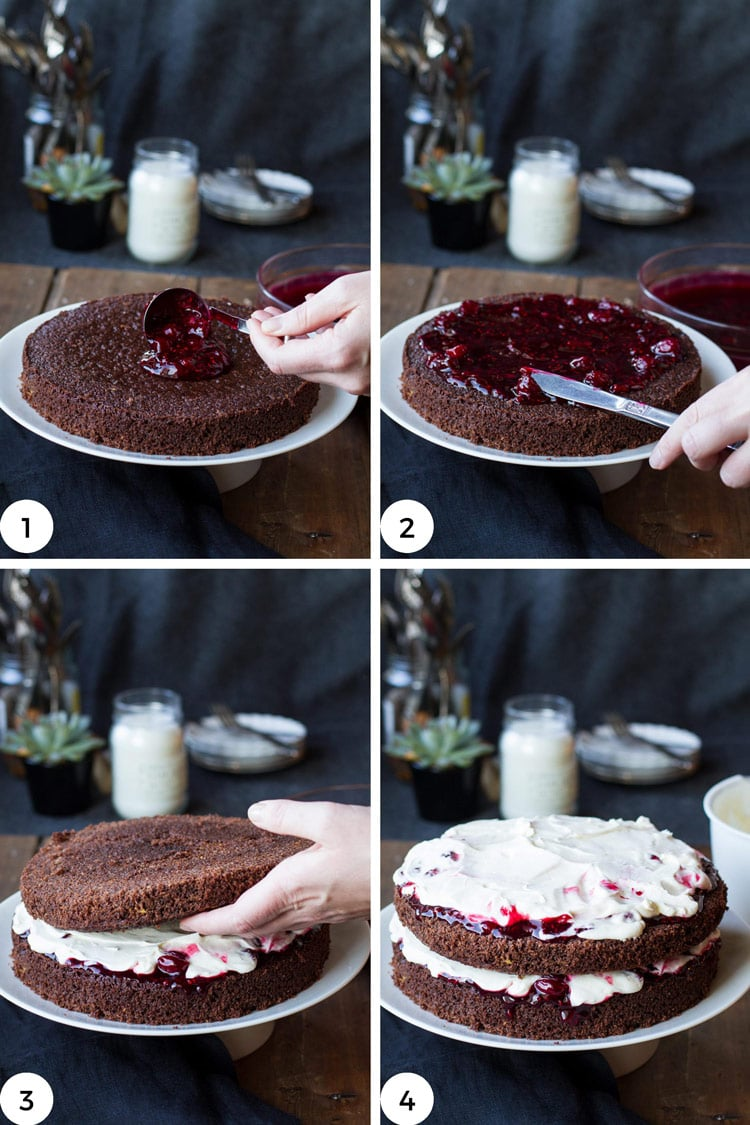 How to assemble cherry chocolate cake, steps.