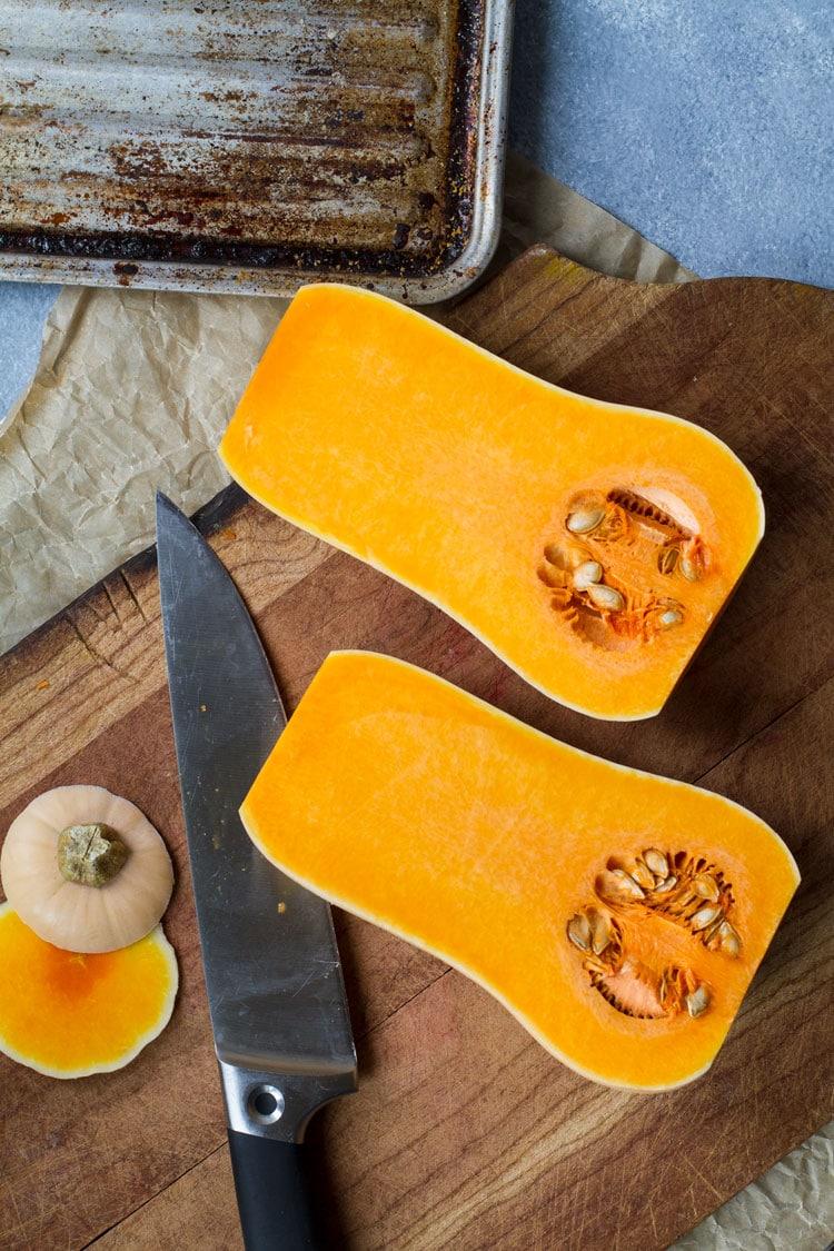 How to cut open a butternut squash.