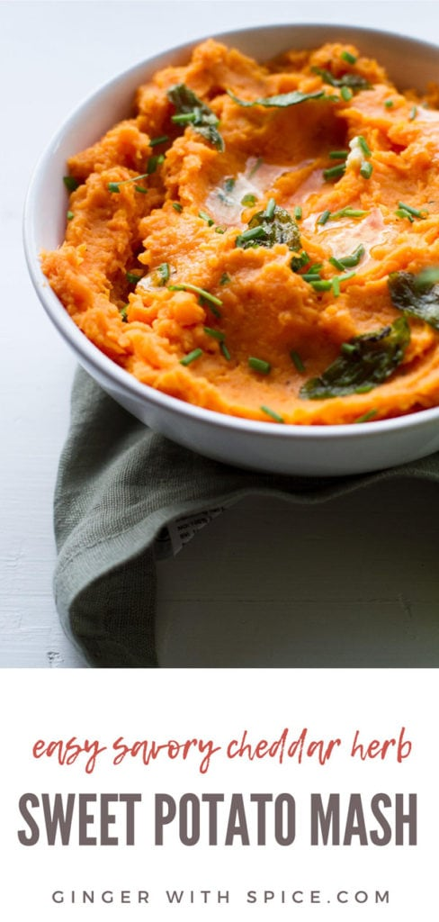 Sweet potato mash with chopped sage leaves and melted butter on top. Long Pinterest pin.