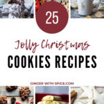 Pinterest pin with text overlay in maroon and 6 images of cookies.