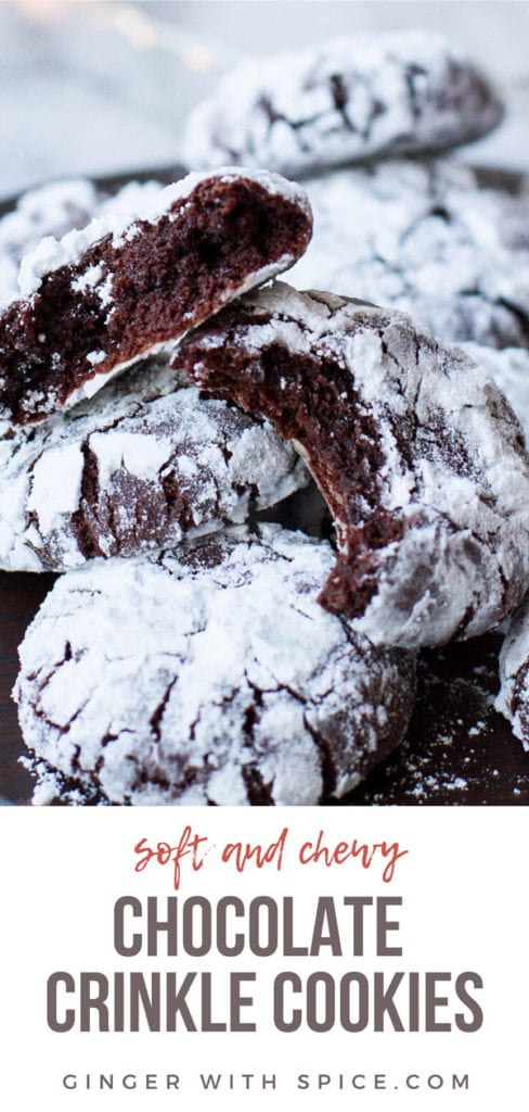 Chocolate crinkle cookies, taken a bite out of, close up. Pinterest pin.