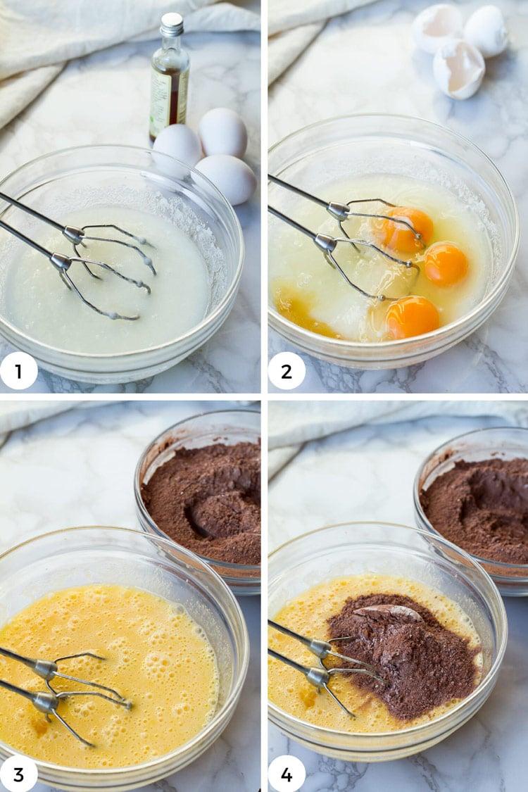 Steps to make chocolate crinkle cookie dough.