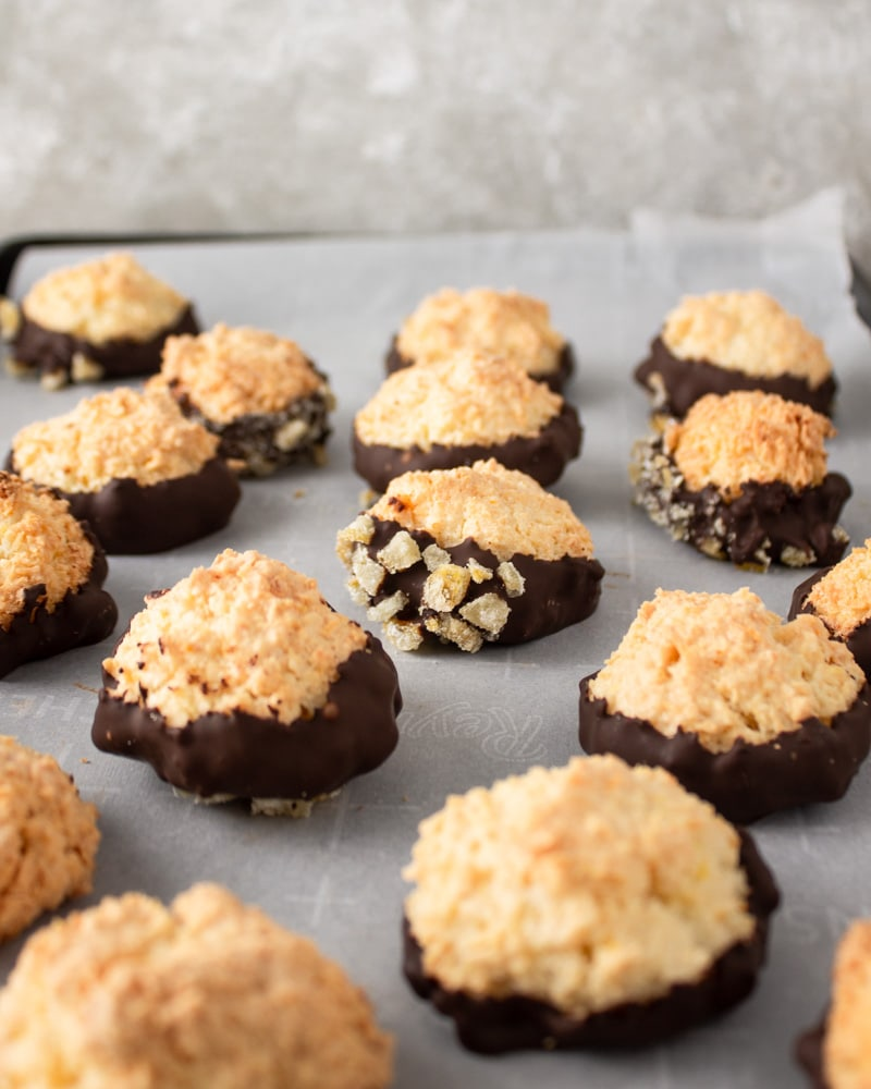 Coconut macaroons dipped in chocolate.