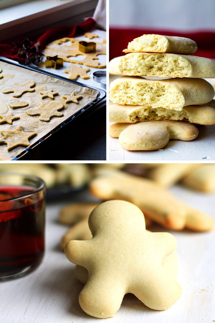 Collage of three images of Christmas Men Cookies; 1. unbaked on cookie tray, 2. stacked open, 3. full cookie.