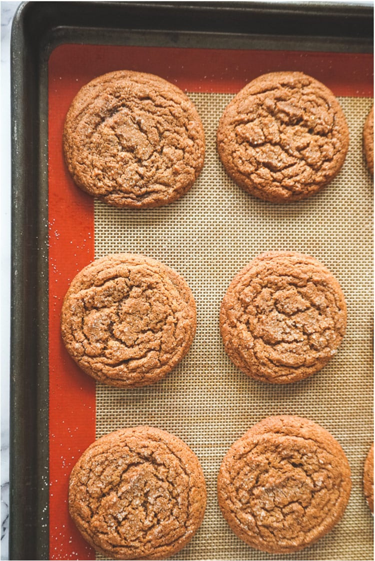 Ginger snap Christmas cookies on baking tray, crinkled cookies.
