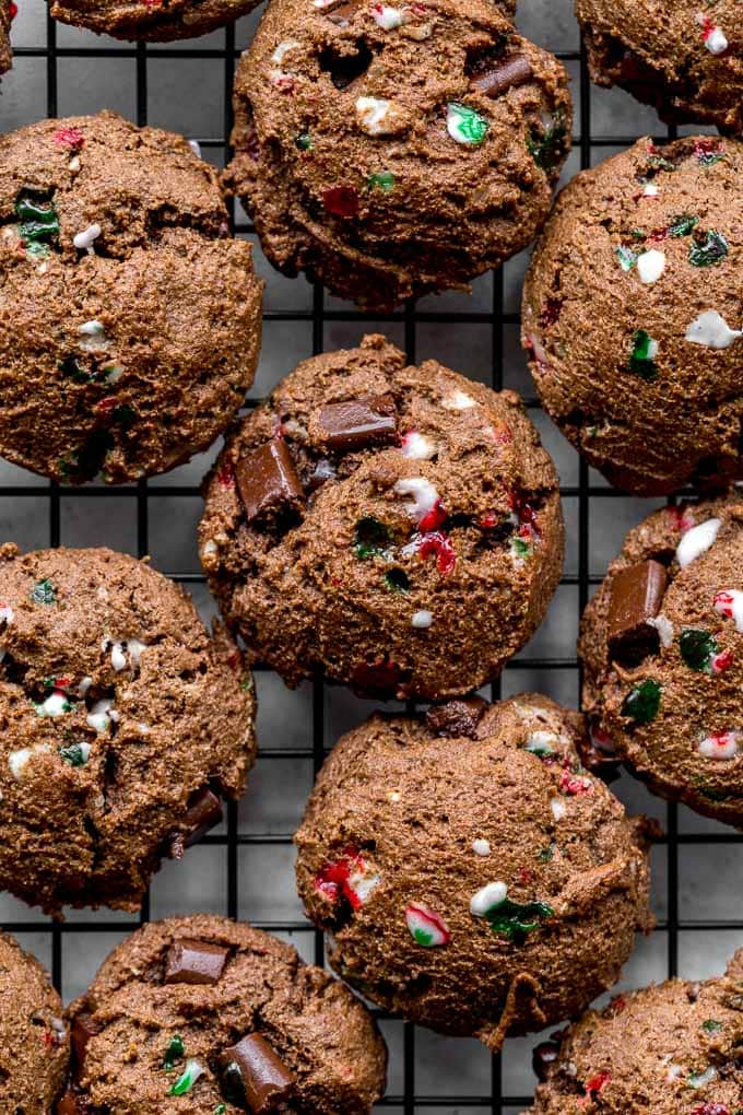 Double chocolate peppermint cookies on a cooling rack. Flatlay.