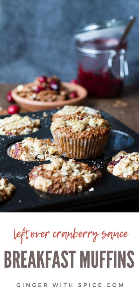 A muffin tin with cranberry sauce breakfast muffins, one standing on top of the tin. Pinterest pin.