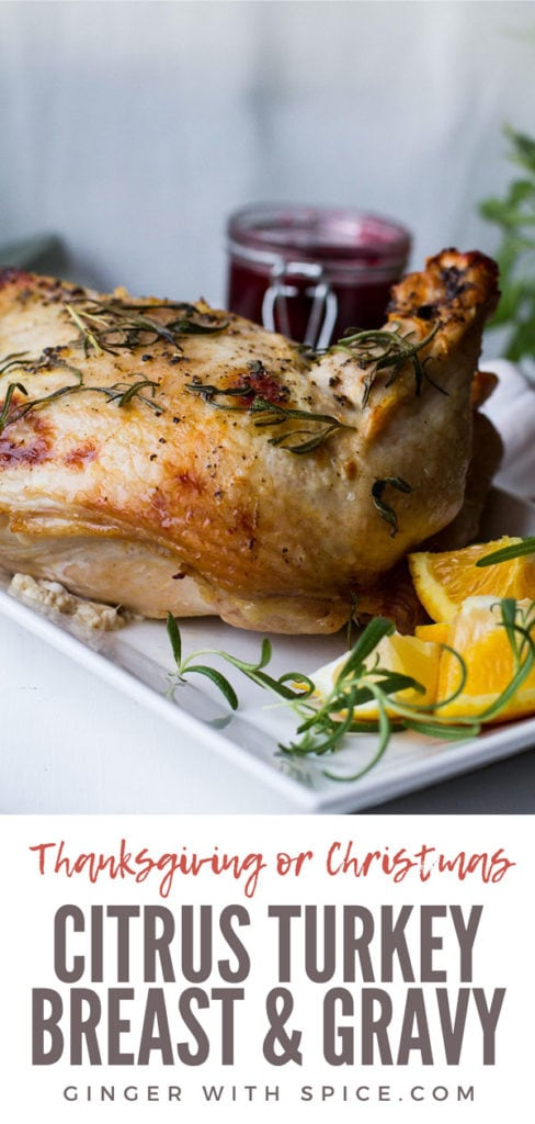 Turkey breast on a white plate, garnished with orange quarters. Pinterest pin.