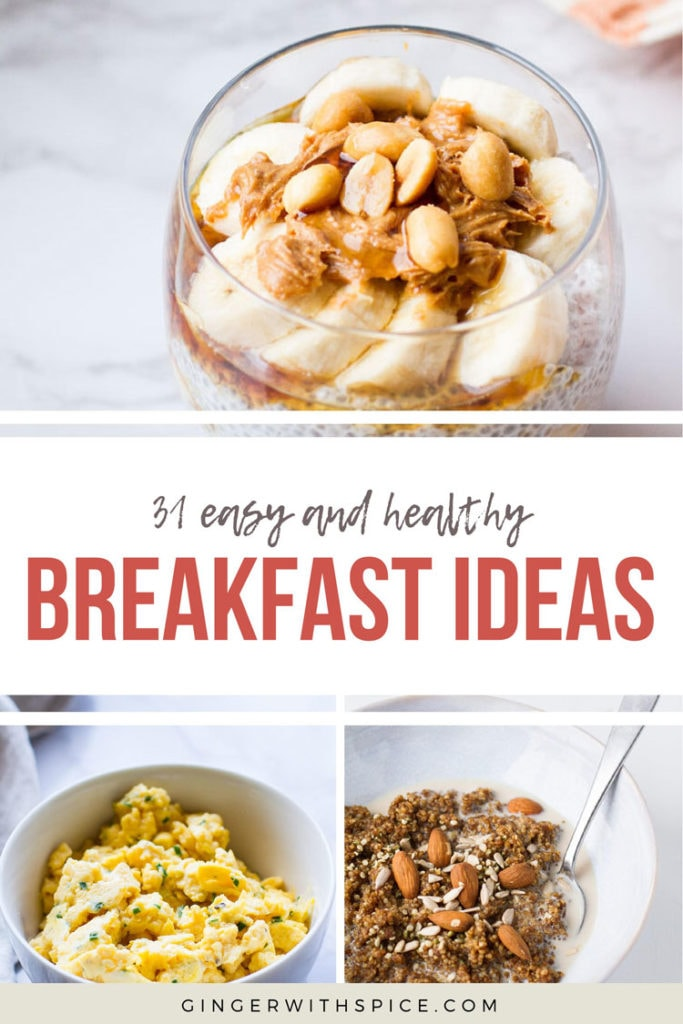 Pinterest pin with red text overlay 31 Easy and Healthy Breakfast Ideas with 3 images from post.