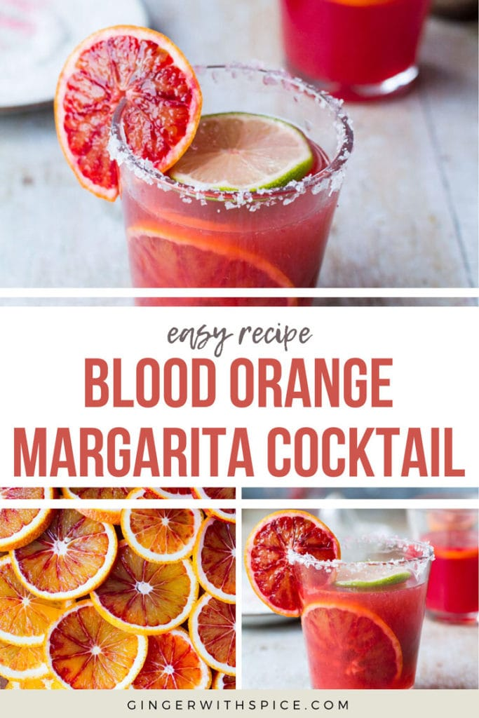 Pinterest pin for blood orange margarita cocktail with text overlay and three images from post.