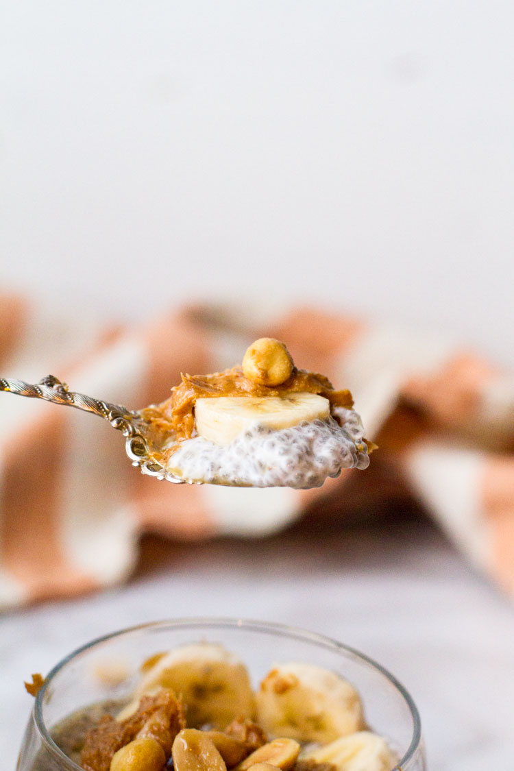 A vintage spoon with a bite size of chia pudding, banana, peanut butter and one peanut.
