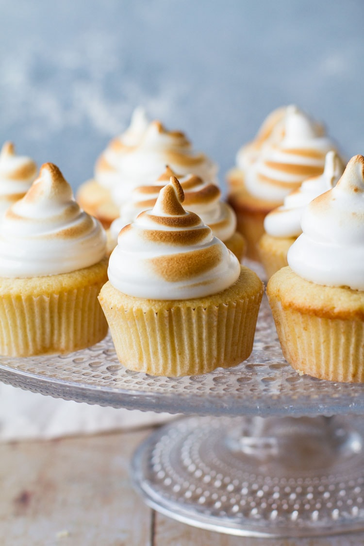 Lemon meringue cupcakes topped with torched Swiss meringue.