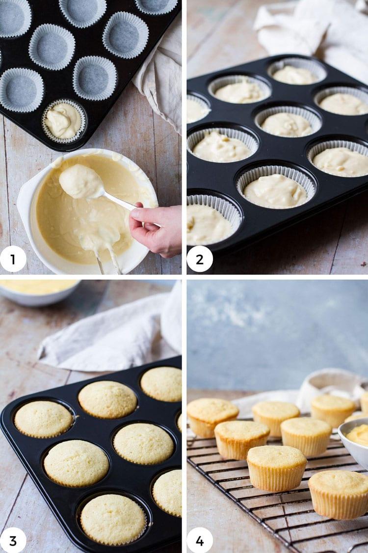 Steps to make lemon muffins.