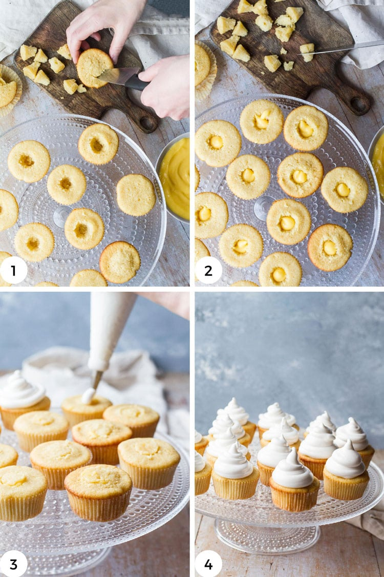 Steps to hollow and fill cupcakes with lemon curd.
