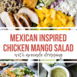 Pinterest pin for Mango Salad with text overlay and three photos.
