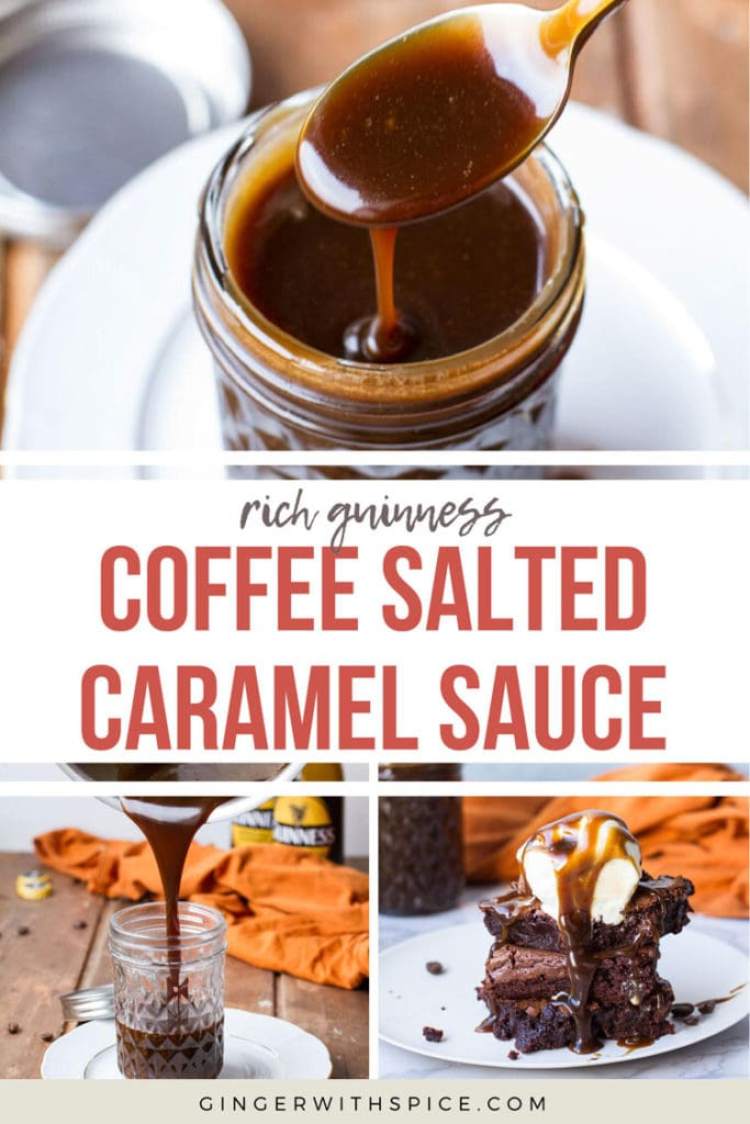 Pinterest pin with text overlay coffee salted caramel sauce and three images from the post.