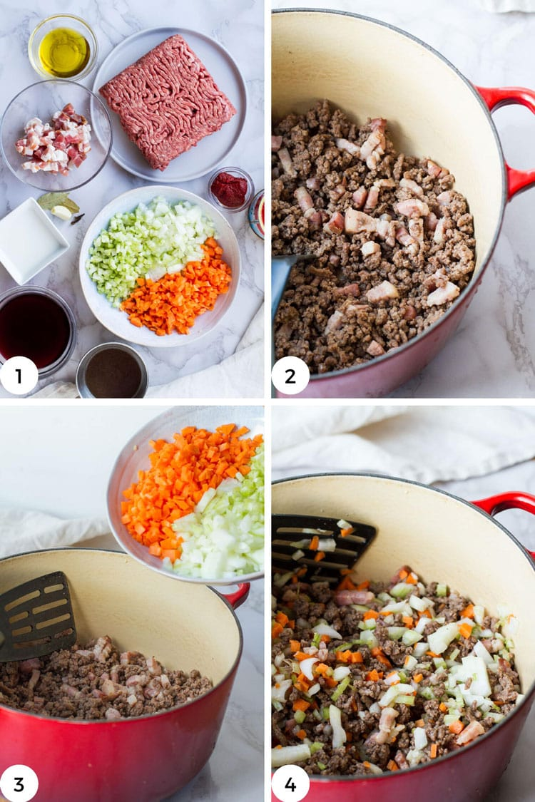 4 separate images on how to brown the meat and sofritto.