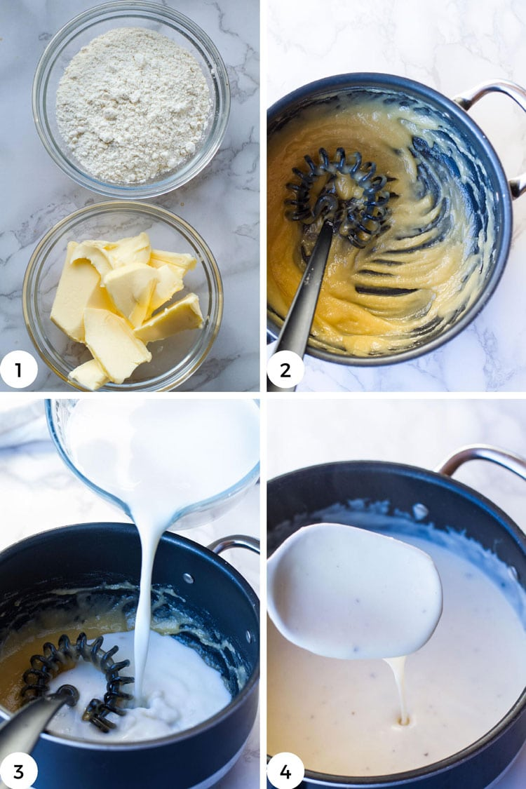 Steps to make béchamel sauce, four images.