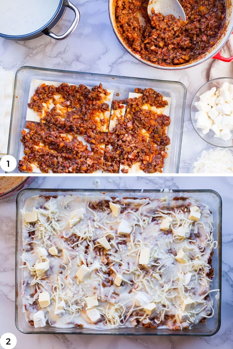 How to layer lasagna.
