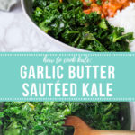 Text in the middle and two images of kale above and below. Pinterest pin.