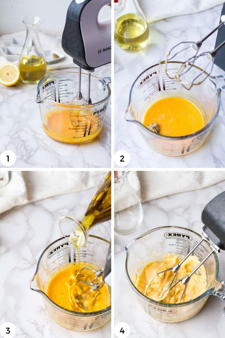 Steps on how to make mayonnaise with a hand mixer.