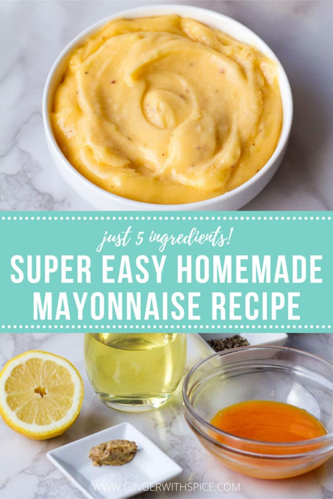 Two images from post + text on turquoise background - super easy homemade mayonnaise recipe.
