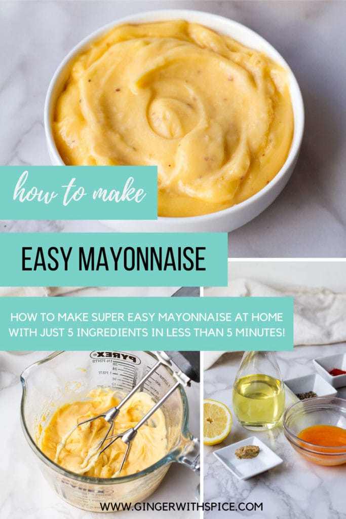 How to make easy mayonnaise Pinterest pin with three images.