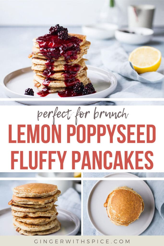 Three different angles of stacked pancakes. Pinterest pin with text overlay.