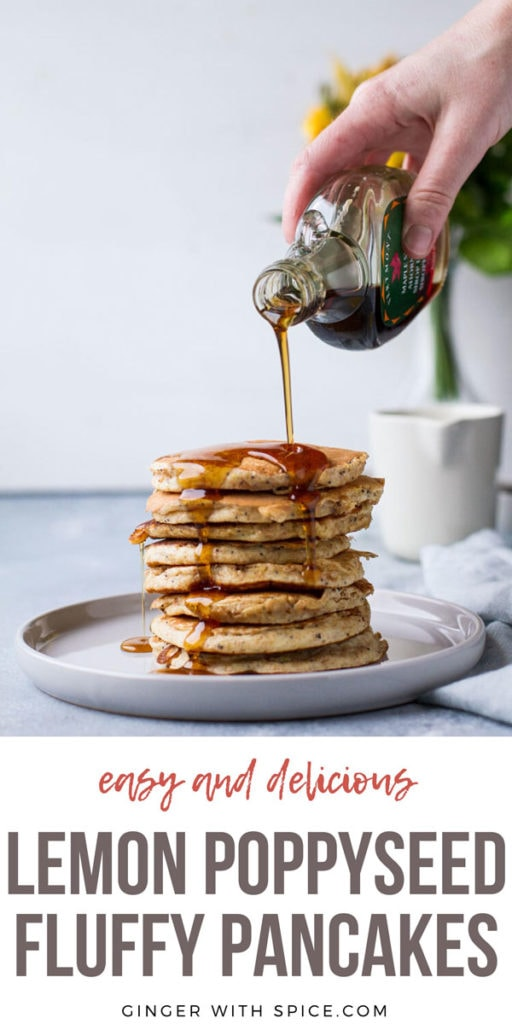 Pouring maple syrup on a stack of lemon ricotta pancakes. Pinterest pin.