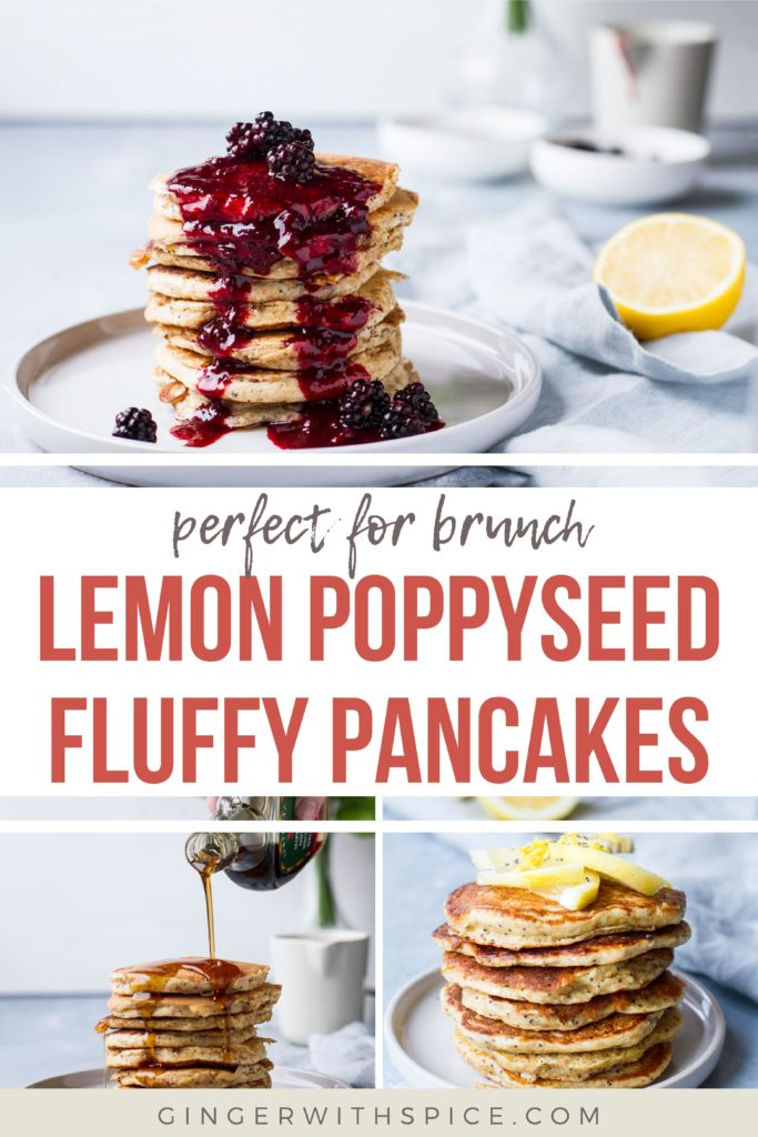 Pinterest pin with text overlay: Lemon Poppyseed Fluffy Pancakes and three images.