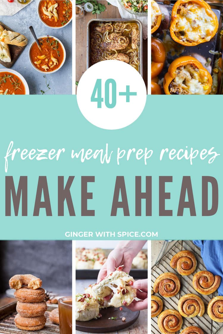 Pinterest pin with text overlay: freezer meal prep recipes